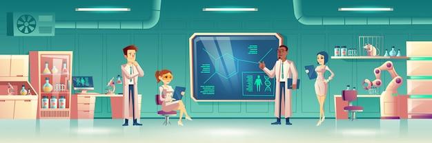 Laboratorio científico interior con científicos.