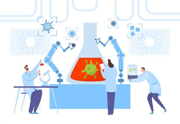 Laboratorio científico de investigación de virus, ilustración del concepto de trabajo en equipo. trabajador médico realizar experimento sobre la enfermedad.