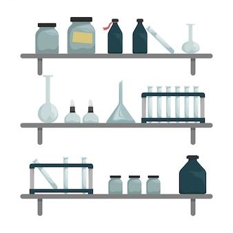 Laboratorio científico químico. estantes de pared con herramientas científicas.