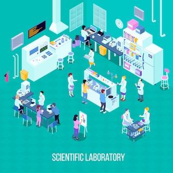Laboratorio de composición isométrica con personal, equipamiento científico con tecnologías informáticas, herramientas químicas.
