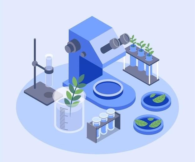 Laboratorio de concepto de biotecnología isométrica