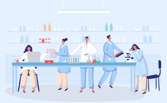 Laboratorio coronavirus antivirus vacuna antiviral biología investigación médicos personas concepto con ilustración de matraz. científicos en laboratorio, investigadores de virus químicos con equipo de laboratorio.