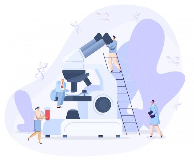 Laboratorio coronavirus antivirus vacuna antiviral biología investigación médicos personas concepto, pequeño mirando en microscopio gigante, ilustración.