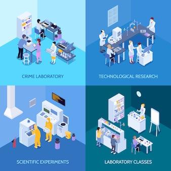 Laboratorio de delitos, clases de práctica química, experimentos científicos e investigación tecnológica. concepto de diseño isométrico aislado.