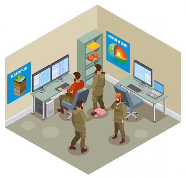 Laboratorio geológico de investigación de la tierra con científicos computadoras computadoras carteles educativos en paredes composición isométrica