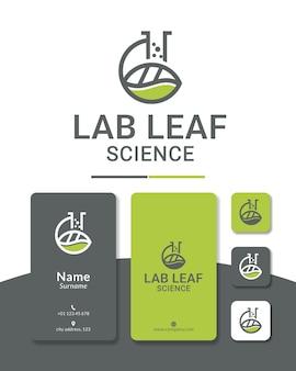 Laboratorio hoja diseño de logotipo ciencia naturaleza