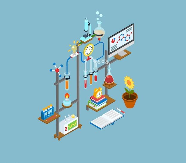 Laboratorio de investigación científica, prueba de laboratorio experimento equipo concepto isométrico ilustración.