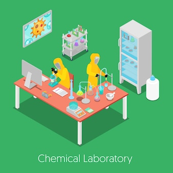 Laboratorio de investigación química isométrica con personal, microscopio y refrigerador. ilustración