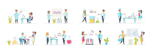 Laboratorio médico con personajes de personas en diversas escenas y situaciones.