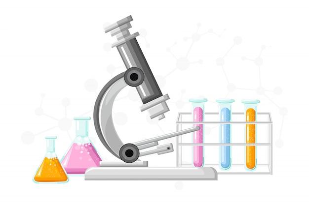 Laboratorio médico con tubos de vidrio ilustración
