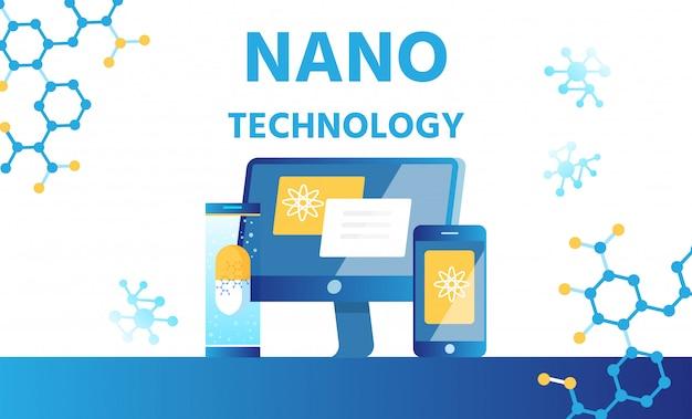 Laboratorio de nanotecnología, banner de ciencia y medicina.