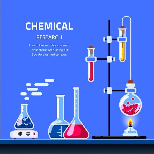 Laboratorio de química y equipo científico. concepto de farmacia y química. bandera del concepto de educación y ciencia.
