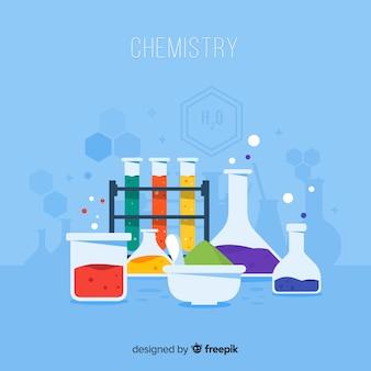 Laboratorio de química con matraces