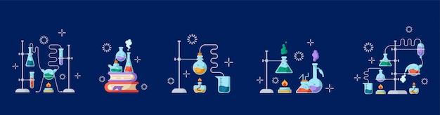 Laboratorio químico y equipamiento para el experimento. concepto de ciencia y educación. frascos de vidrio y tubos de ensayo.