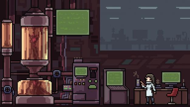 Laboratorio secreto de escena de pixel art