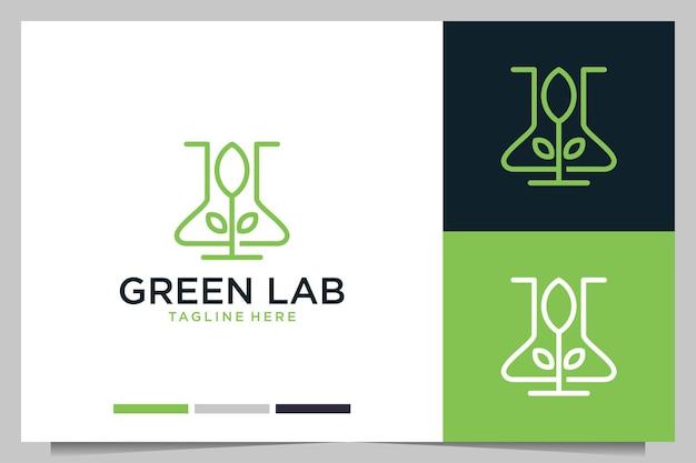 Laboratorio verde con diseño de logotipo de arte de línea vegetal