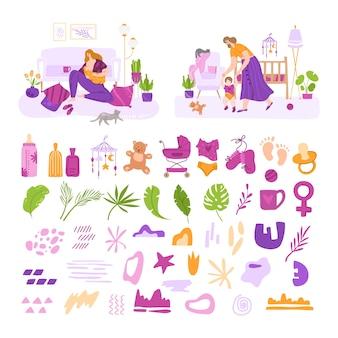 Lactancia materna, maternidad, lactancia y cuidado del bebé - aislado