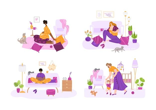Lactancia materna, la maternidad, el parto por un bebé y el concepto de embarazo: conjunto de madres o mujeres embarazadas. bebé lactante, baja por maternidad