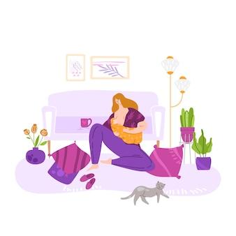 Lactancia y maternidad feliz, joven madre lactante, ilustración de dibujos animados plana