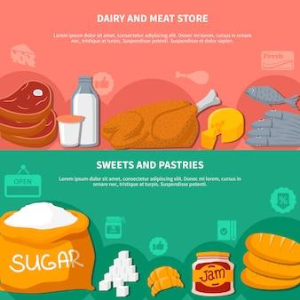 Lácteos carnes dulces bollos alimentos banners