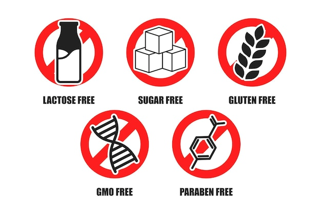 Lactosa, azúcar, gluten, transgénicos, conjunto de letreros adhesivos sin parabenos, colección de etiquetas de alimentos de nutrición orgánica.