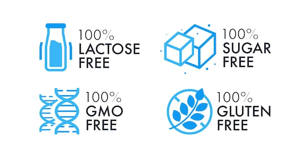 Sin lactosa, sin azúcar, sin transgénicos, sin gluten, sin gluten, conjunto de etiquetas vectoriales para emblemas de alimentos, sellos, sellos, insignias