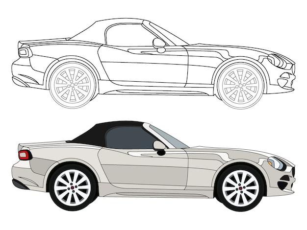 Lado detallado del coche sedán convertible blanco con opción de carrera negra para libro de color customable