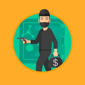 Ladrón con arma cerca de caja fuerte.