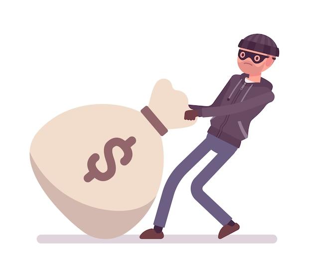 Ladrón y una bolsa de dinero gigante