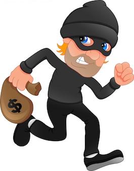 Ladrón cargando bolsa de dinero con un signo de dólar.