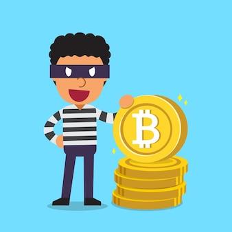 Ladrón con gran pila de monedas para el diseño.