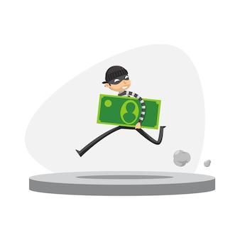 Un ladrón está corriendo con la celebración de papel moneda. ilustración vectorial aislado
