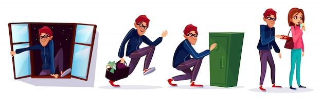 Ladrón de dibujos animados, conjunto de caracteres de ladrón. ladrón corriendo con dinero robado