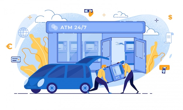 Ladrón de dibujos animados llevar cajero automático al robo de la terminal del banco del automóvil