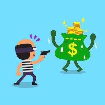 Ladrón de dibujos animados robando dinero