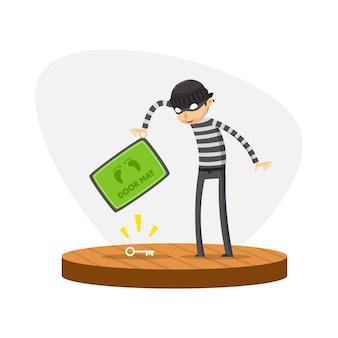 Un ladrón encontró una llave debajo del felpudo. ilustración vectorial aislado