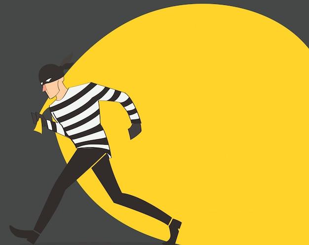 Ladrón con fondo bolsa de ladrón