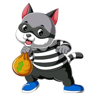 Ladrón de gato de dibujos animados vestido con una máscara oscura que sostiene una bolsa grande robada más dinero y monedas