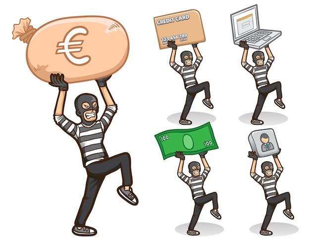 Ladrón, hacker, carácter, pegatina, emoji, ilustración, conjunto