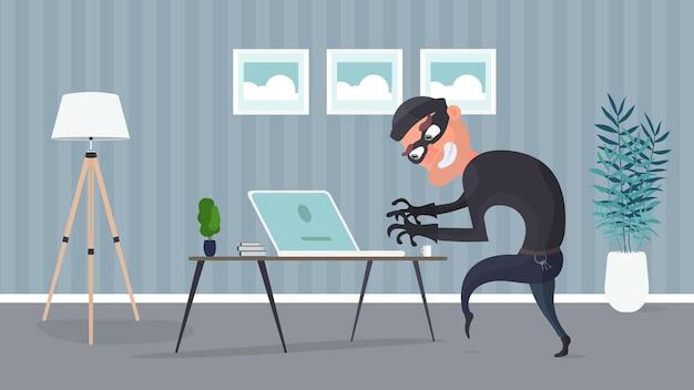 Ladrón en la oficina. un ladrón roba datos de una computadora portátil. concepto de seguridad. ilustración de estilo plano.