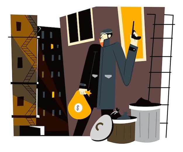 Ladrón peligroso en la calle con dinero robado en bolsa y pistola. criminal con arma y activos financieros del banco. ladrón y culpable en tugurios, fraude o sospecha al aire libre. vector en estilo plano
