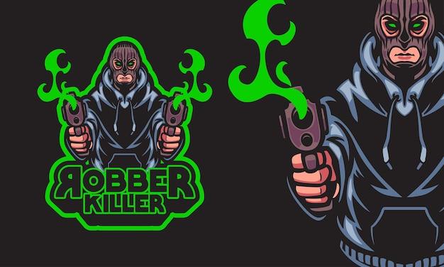 Ladrón con pistolas, deportes, logotipo, mascota, vector, ilustración