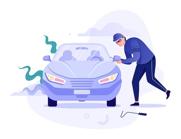 Ladrón roba el coche. vandalismo y robo. auto en peligro.