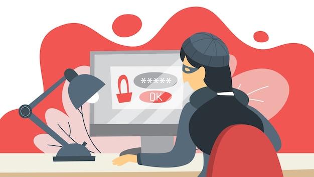 Ladrón roba datos personales con contraseña. concepto de piratería y ciberdelincuencia. la privacidad de los datos está en peligro. ilustración en estilo de dibujos animados