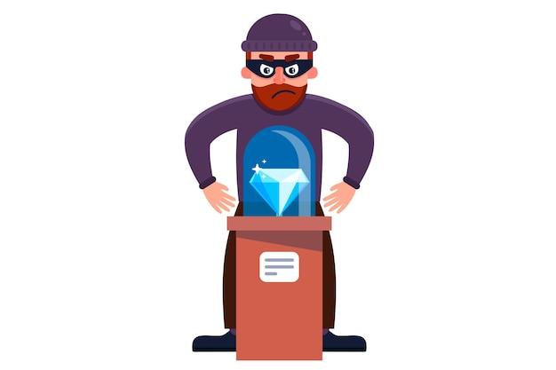 Un ladrón roba un diamante de un museo. ilustración de personaje plano aislado sobre fondo blanco.
