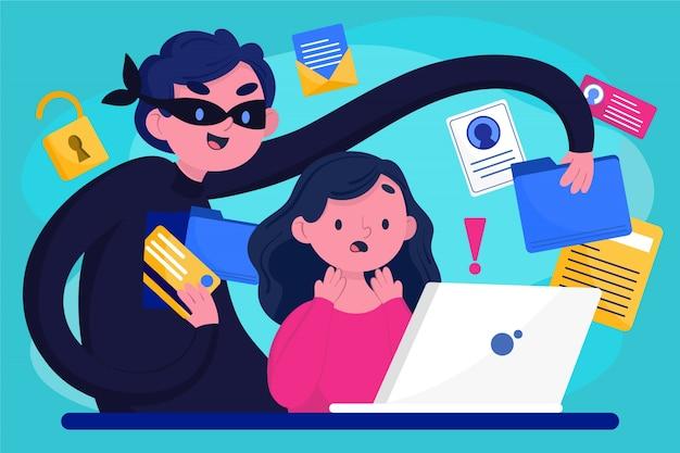 Ladrón robando datos de usuarios