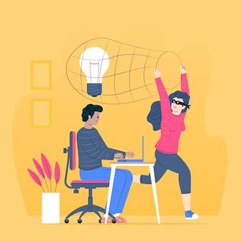 Ladrón robando una idea ilustrada
