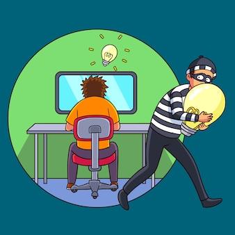Ladrón robando ideas de alguien