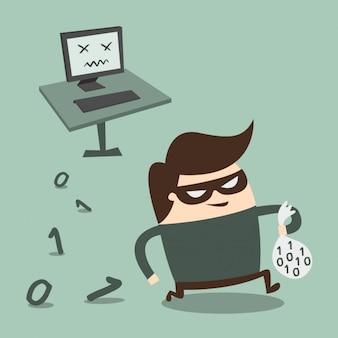 Ladrón robando información del ordenador
