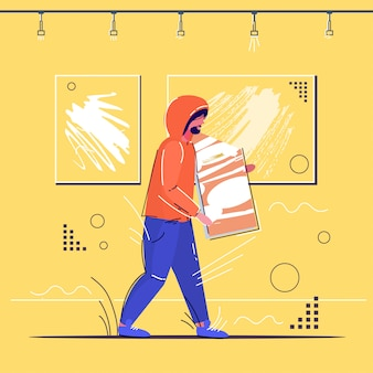 Ladrón robando museo exhibe escena del crimen robo robo concepto ladrón sosteniendo imagen galería de arte moderno interior boceto integral